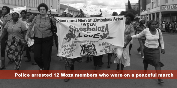Police arrested 12 Woza members who were on a peaceful march